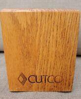 Cutco Wooden Square Utensil Holder Box Caddy Block Honey Oak 4x4x5 Made in USA