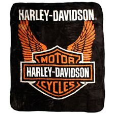 Harley Davidson Orange Wings Queen Mink Blanket