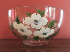 Vintage Clear Glass Gay Fad Flower Serving Glass Bowl