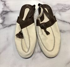 Nancy Knox Canvas Leather Men's Slippers Slingback Shoes