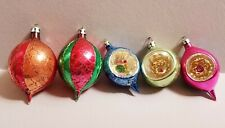 5 Vintage Glass Christmas Ornaments Poland, Deep Indents, Shabby Chic