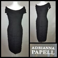 Adrianna Papell Black Evening Dress Size 8 Tiered Bardot Style Special Occasion