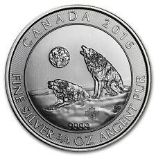 Monnaie/pièces en argent 999 heulender Howling Wolf Canada 2016 3/4 pouces