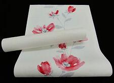 """13488-) schicke Vliestapete - Blumen-Design hellrot mit Glanz """"Einfach schöner"""""""