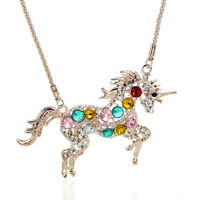 Lady Multicolor Crystal Steed Horse Unicorn Pendant Long Chain Sweater Necklace