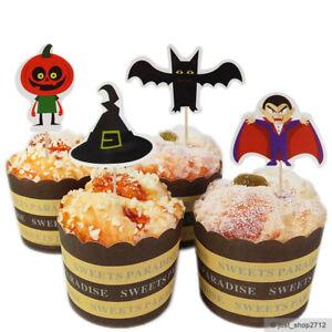 24 Halloween Topper Toppers Fledermaus Vampir Kürbis Kuchen Picks Dekoration