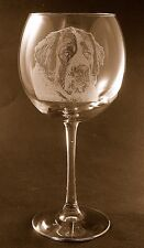 New Etched Saint Bernard on Large Elegant Wine Glasses- Set of 2