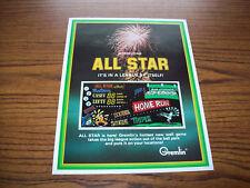 GREMLIN ALL STAR ARCADE WALL GAME FLYER BROCHURE 1970s