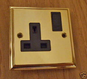 13amp single switched soc outlet victoria brass VSO131B