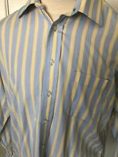 Burberry Blue Yellow  Striped Cotton Shirt Size 16 1/2 L (MSRP $109.99)