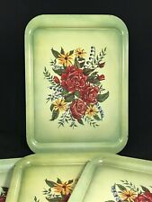 STUNNING Vintage Mid Century Large Floral Tin TV Dinner Serving Trays Set 4 A+++