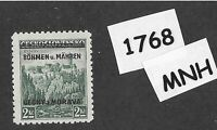 #1768 MNH 1939 Overprint stamp 2.00 KR BaM Protectorate / Third Reich occupation