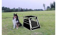Single Dog Crate Aluminium Transport Carrier Travel Box Car Cage Single Door