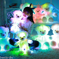 70cm/50cm Girl LED Bear Stuffed Animals Plush Soft Hug Toy Baby Gift