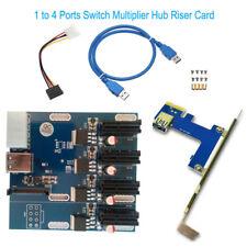 USB 3.0 PCI-E 1 to 4 Ports Switch Multiplier Hub Riser Carte Expansion Kit