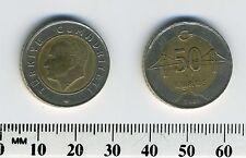 Turkey 2009 - 50 Kurus Bi-Metallic Coin - Head of Atatürk - Bridge - Mint Error