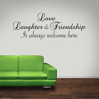LOVE LAUGHTER FRIEND Wall Art Sticker Lounge Quote Decal Mural Transfer Stickers