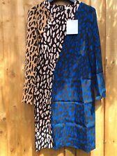 Diane Von Furstenberg Shift Robe 12UK 8US 40EUR BLEU NOIR CAMEL LEOPARD NEUF