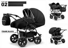 Zwillingswagen Duet Lux Geschwister 3in1- Set Wanne Buggy Babyschale Zubehör 02