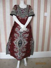 New Dashiki Red 100% Cotton Maxi Kaftan Dress Nighty UK 14 -20, 20-24+3GIFT