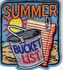 """SUMMER BUCKET LIST""- Iron On Embroidered Applique/Trip, Vacation, Beach, Travel"