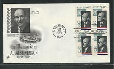 # 1275 ADLAI STEVENSON, GOVERNOR & AMBASSADOR 1965 ArtCraft FDC (Block of 4)