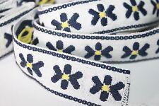 Vintage Embroidered Trim Sewing Border Retro Jacquard Sari Navy Yellow 8+ Yards