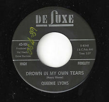 ♫QUEENIE LYONS Drown In My Own Tears/TRy Me Deluxe 101 R&B NORTHERN SOUL 45RPM♫