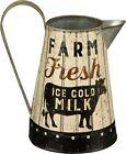 Rustic Distressed Metal Farm Fresh Milk Pitcher or Watering Can, Vase, or Jug...