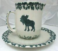 Tienshan Folk Craft Moose Country 10 oz Creamer w/Base Plate Sponge-ware green