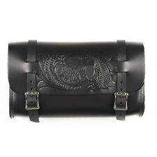 Genuine Leather Black Motorcycle Tool Bag - American Made - USA Eagle