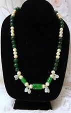 Jade Hand Carved Peaches Necklace Beautiful Chinese Asian Natural Green White