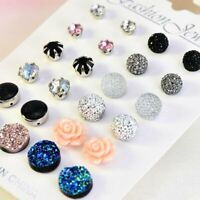 12Pairs/Set New Fashion Crystal Round Flower Stud Earrings Women Jewellery Gift