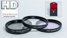 NEW 3PC PRO HD GLASS FILTER KIT FOR JVC GZ-HD7E GZ-HD7U
