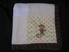 Pink Green Brown Monkey Minky Dots Baby Blanket Cream Sherpa Miniville Layette