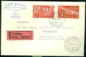 SWITZERLAND   NICE 1945  PRO AERO COVER WITH PAX STAMP