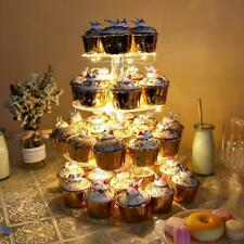 4 Tier Acrylic Clear Round Cupcake Cake Stand Birthday Wedding Party + LED Light