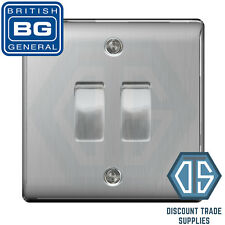 BG Nexus Brushed Steel 2 Gang Switch 1x Intermediate 1x 1 or 2 Way Custom Grid