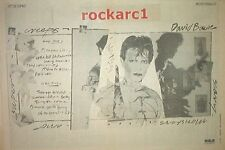 DAVID BOWIE Scary Monsters -track list 1980  Poster size Press ADVERT 16x12 inch