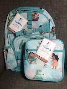 "Pottery Barn Kids Moana Large Backpack 17""Classic Lunch Bag Set Disney Princess"