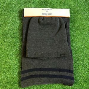 Dockers Men's Set of 2 Maximum Warmth Knit Charcoal Grey Scarf & Beanie Hat NEW