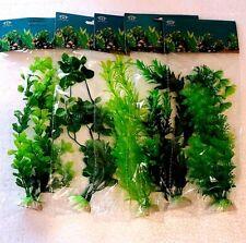 """5 x Large Mixed *All Green* Plastic Plant Lot 8""""- 11"""" Aquarium Fish Decoration."""