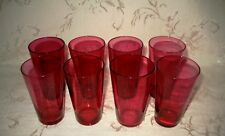 Victorian Antique 1800s Hand Blown Cranberry Juice Glasses, Set of Eight (8)