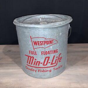 Vintage Westpoint Full Floating Min-O-Life Bait Minnow Bucket Fishing Galv. Pail