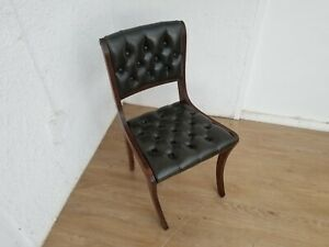 GREEN LEATHER BERESFORD & HICKS CHAIR CHESTERFIELD not captains chair - Delivery