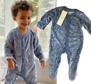 BNWT baby boys soft velour cotton blue christmas tree warm sleepsuit romper gift