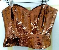 STRAPLESS SIZE 10,  SEQUIN BUSTIER ,     CHECK IT OUT,      by OLEG CASSINI