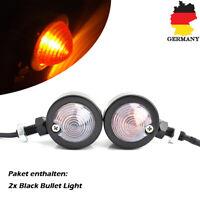 2x Universal Motorrad Bullet Blinker Indikator Licht Schwarz Für Harley Scooter