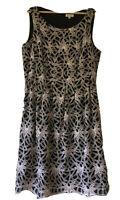 Autograph Size 14 Black White Floral print Fit & Flare Sleeveless Dress