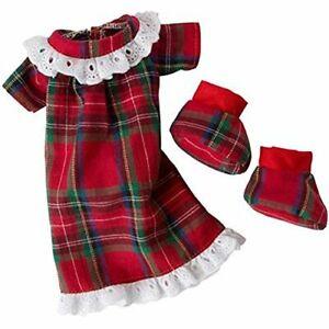 Elf Magic Christmas Noel Nighty Plaid Nightgown and Slippers Elfit   10 Inch